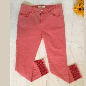 Zara Denim Cropped Straight Jeans US 6 Pink (o)